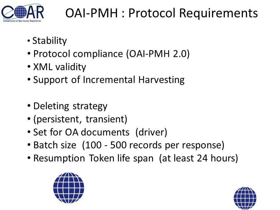 OAI-PMH : Metadata Requirements Fulltext link Content Recommendations – identifier – creator – contributor – source (citation) Standardized Contents – type – language – date