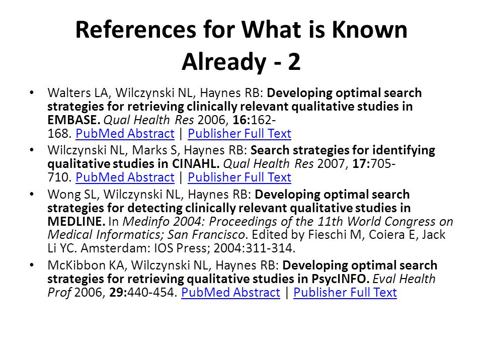 References for What is Known Already - 2 Walters LA, Wilczynski NL, Haynes RB: Developing optimal search strategies for retrieving clinically relevant qualitative studies in EMBASE.