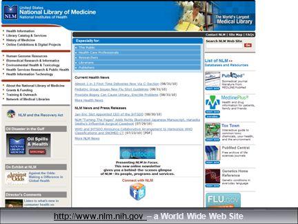 15 http://www.nlm.nih.gov http://www.nlm.nih.gov – a World Wide Web Site