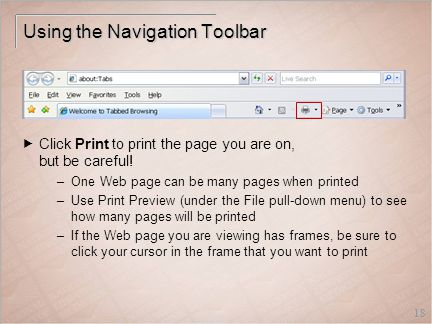 18 Using the Navigation Toolbar  Click Print to print the page you are on, but be careful.