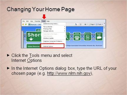 Changing Your Home Page  Click the Tools menu and select Internet Options  In the Internet Options dialog box, type the URL of your chosen page (e.g.