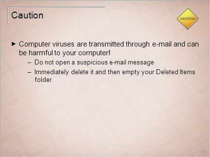 39 Caution  Computer viruses are transmitted through e-mail and can be harmful to your computer.