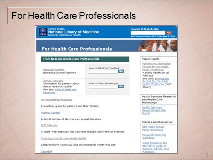 8 For Health Care Professionals