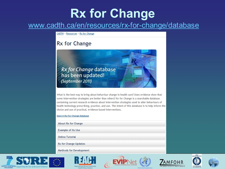 Rx for Change www.cadth.ca/en/resources/rx-for-change/databasewww.cadth.ca/en/resources/rx-for-change/database