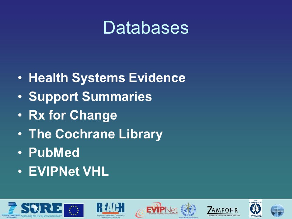 Databases Health Systems Evidence Support Summaries Rx for Change The Cochrane Library PubMed EVIPNet VHL