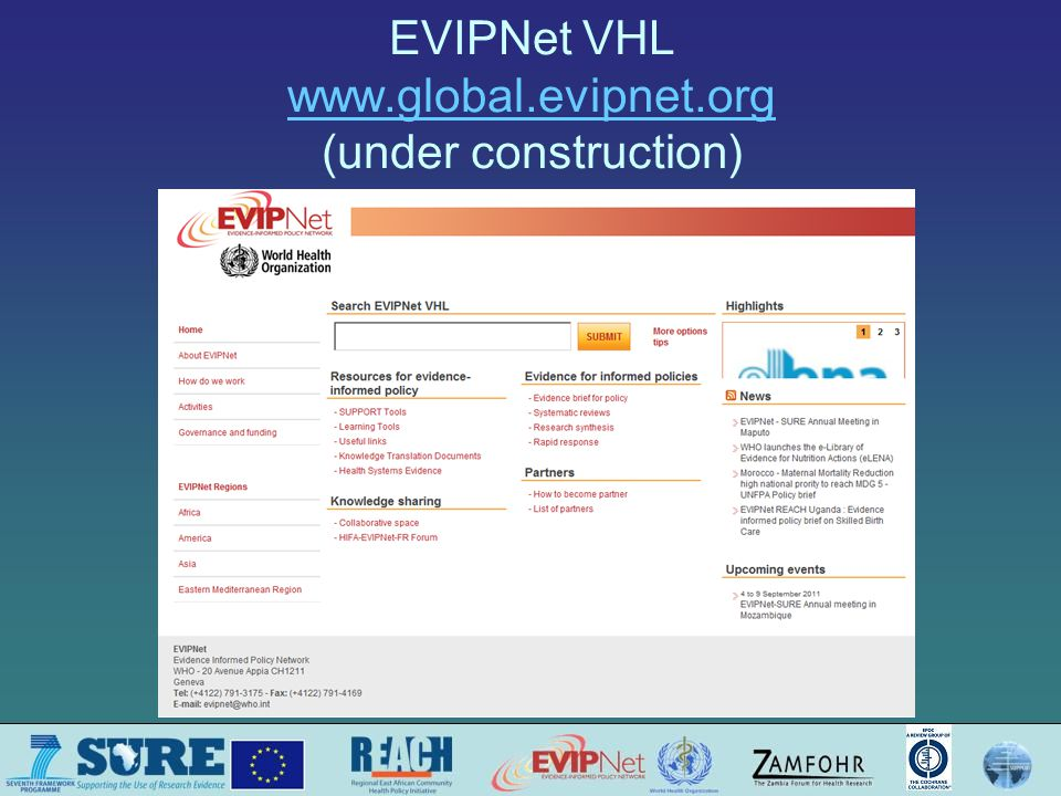 EVIPNet VHL www.global.evipnet.org (under construction) www.global.evipnet.org