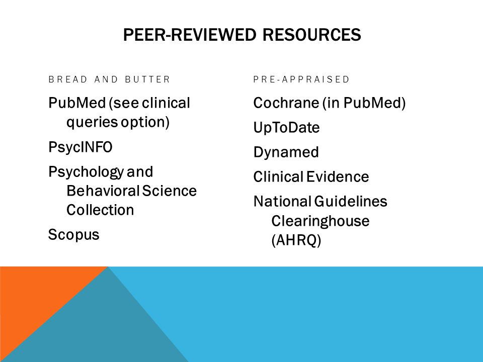 PEER-REVIEWED RESOURCES BREAD AND BUTTER PubMed (see clinical queries option) PsycINFO Psychology and Behavioral Science Collection Scopus PRE-APPRAISED Cochrane (in PubMed) UpToDate Dynamed Clinical Evidence National Guidelines Clearinghouse (AHRQ)