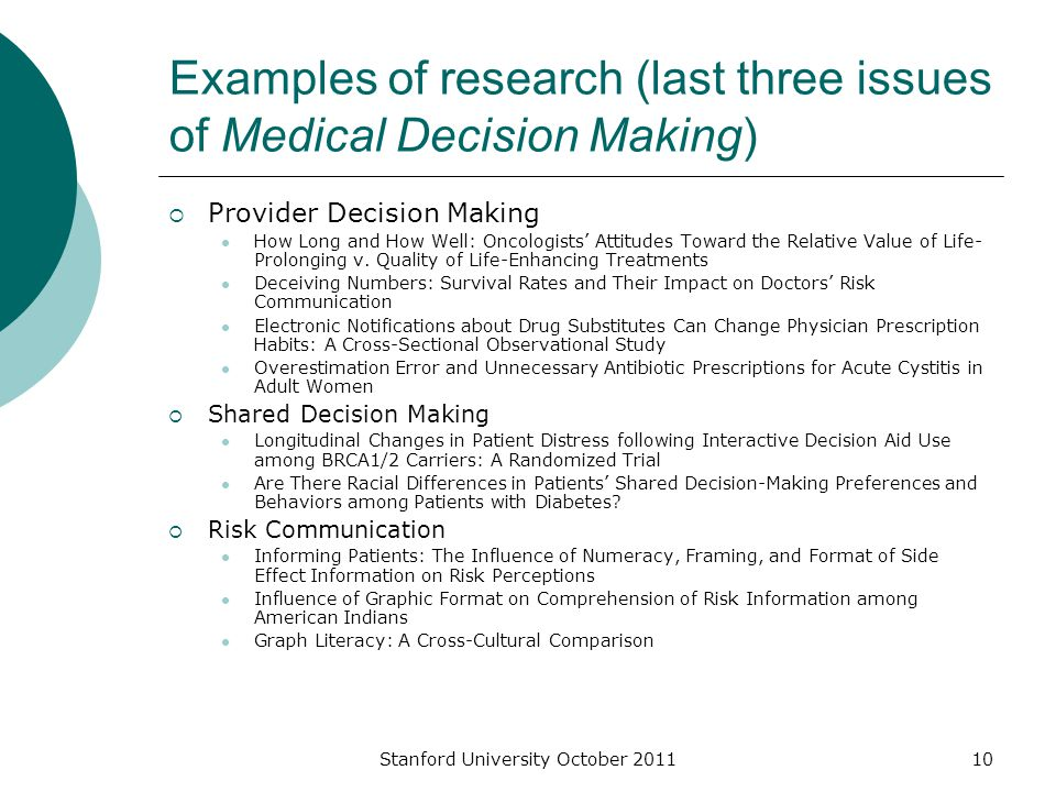 Stanford University October 201110 Examples of research (last three issues of Medical Decision Making)  Provider Decision Making How Long and How Well: Oncologists' Attitudes Toward the Relative Value of Life- Prolonging v.