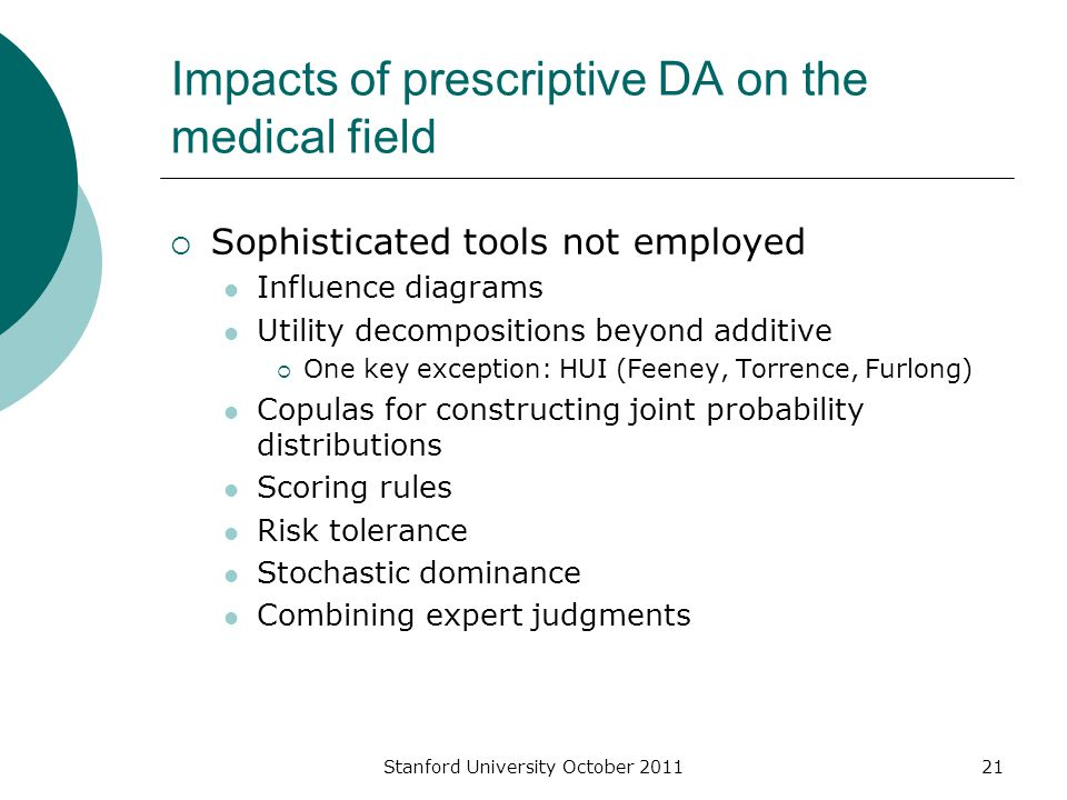 Impacts of prescriptive DA on the medical field  Sophisticated tools not employed Influence diagrams Utility decompositions beyond additive  One key exception: HUI (Feeney, Torrence, Furlong) Copulas for constructing joint probability distributions Scoring rules Risk tolerance Stochastic dominance Combining expert judgments Stanford University October 201121