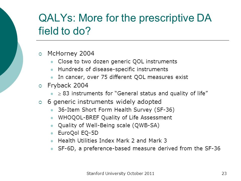 QALYs: More for the prescriptive DA field to do.