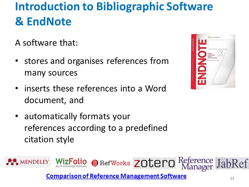 Introduction to Bibliographic Software & EndNote A software that: stores and organises references from many sources inserts these references into a Word document, and automatically formats your references according to a predefined citation style 11 Comparison of Reference Management Software