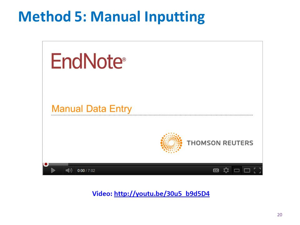 Method 5: Manual Inputting 20 Video: http://youtu.be/30u5_b9d5D4http://youtu.be/30u5_b9d5D4