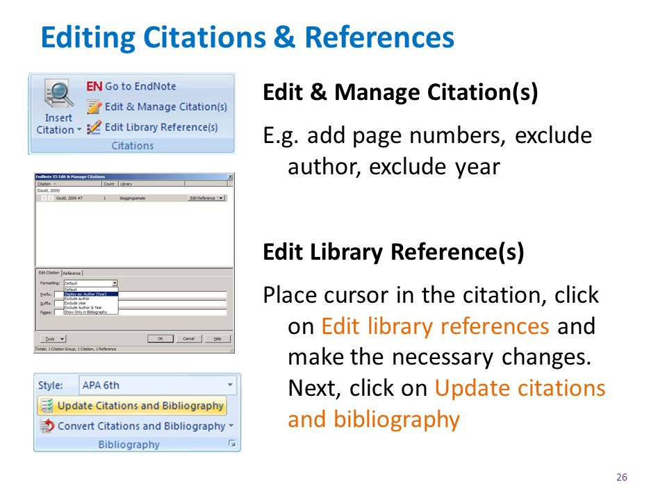 Editing Citations & References Edit & Manage Citation(s) E.g.
