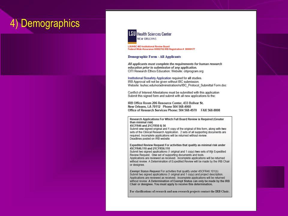4) Demographics