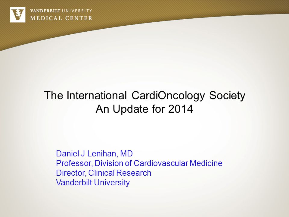 The International CardiOncology Society An Update for 2014 Daniel J Lenihan, MD Professor, Division of Cardiovascular Medicine Director, Clinical Rese