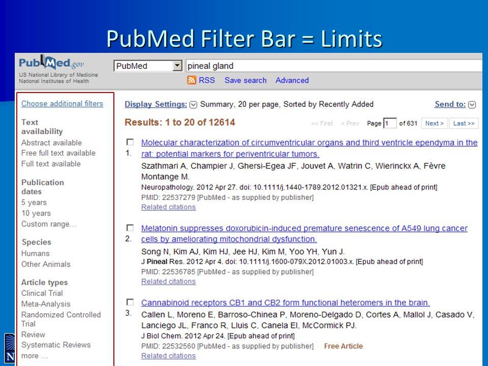 PubMed Filter Bar = Limits 17