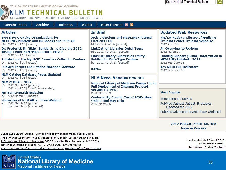 NLM Technical Bulletin  January 2012 35