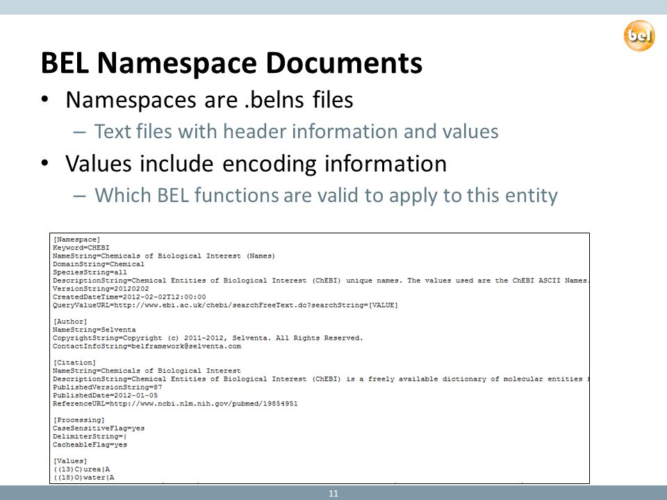 BEL Namespace Documents Namespaces are.belns files – Text files with header information and values Values include encoding information – Which BEL functions are valid to apply to this entity 11