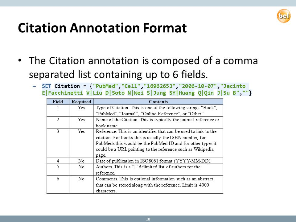 Citation Annotation Format The Citation annotation is composed of a comma separated list containing up to 6 fields.