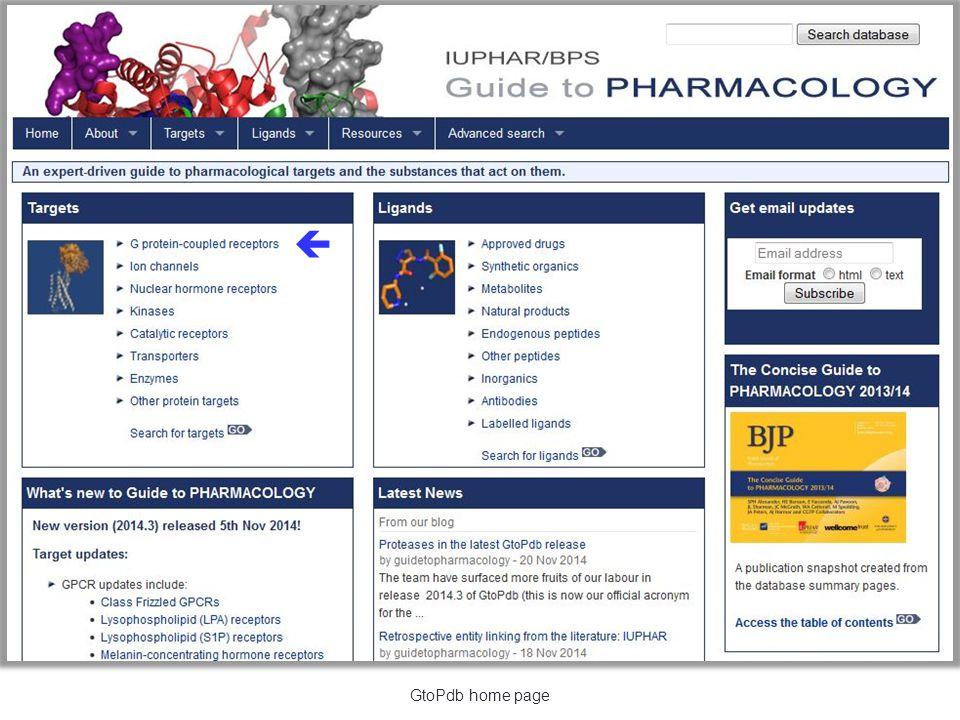  GtoPdb home page
