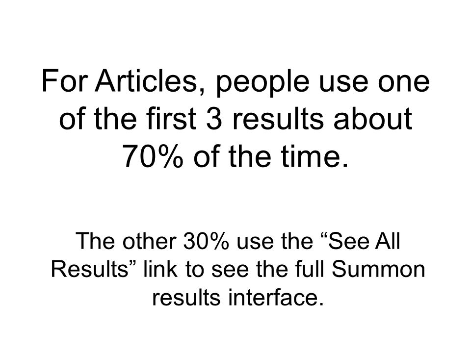 For Articles, people use one of the first 3 results about 70% of the time.