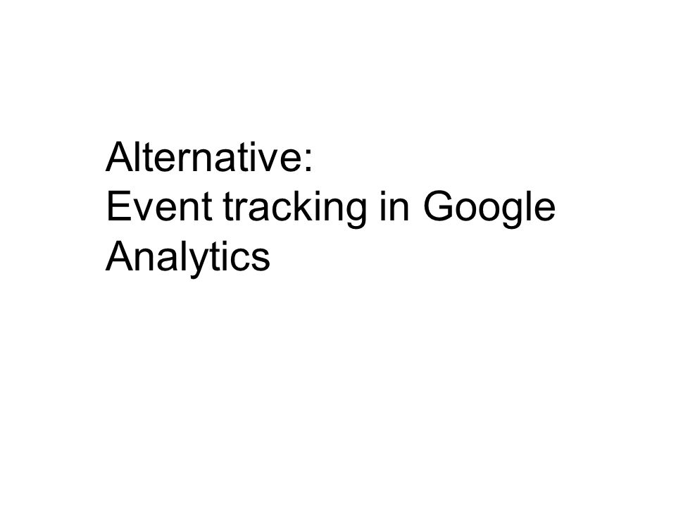 Alternative: Event tracking in Google Analytics