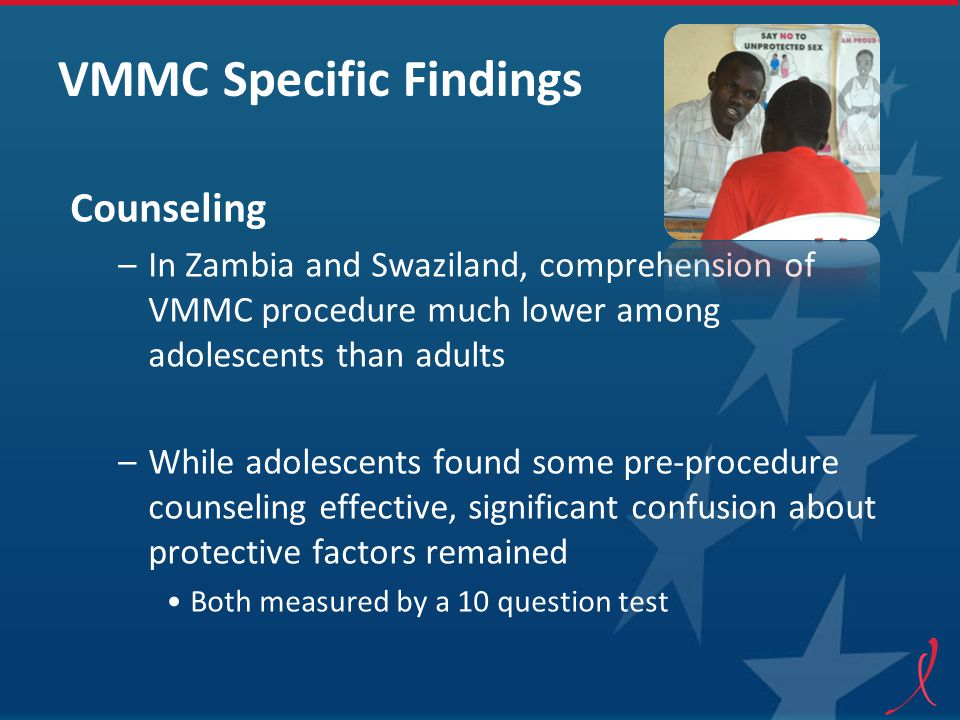 VMMC Specific Findings Counseling –In Zambia and Swaziland, comprehension of VMMC procedure much lower among adolescents than adults –While adolescents found some pre-procedure counseling effective, significant confusion about protective factors remained Both measured by a 10 question test