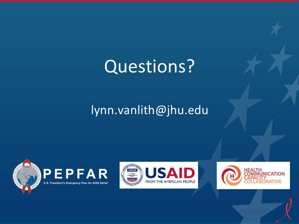 Questions lynn.vanlith@jhu.edu