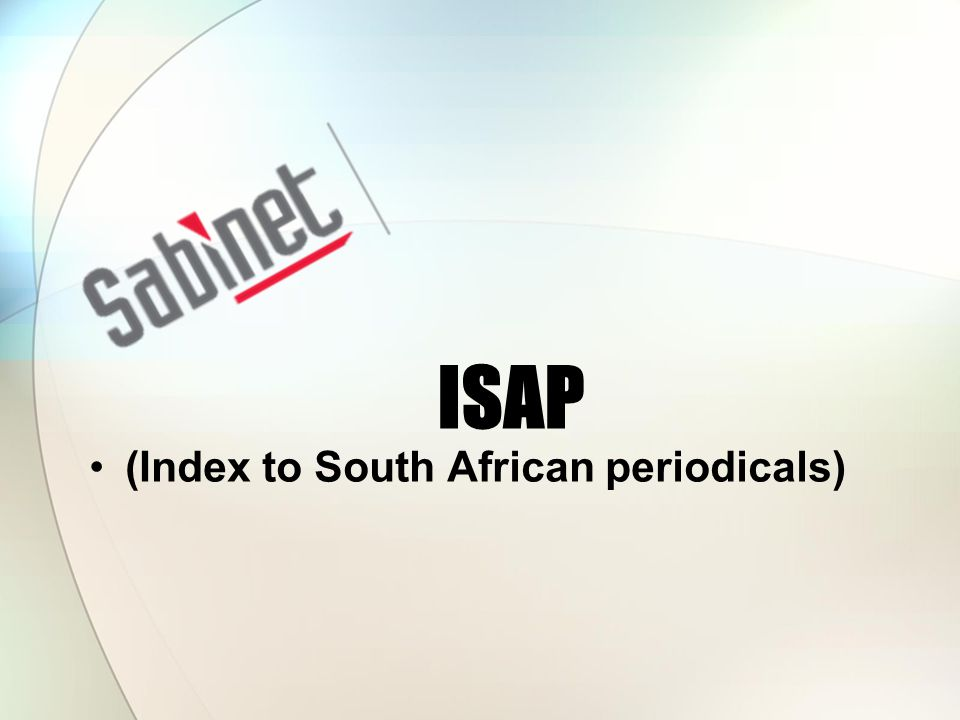 ISAP (Index to South African periodicals)