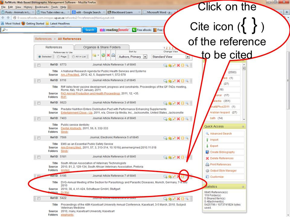 Click on the Cite icon ( { } ) of the reference to be cited