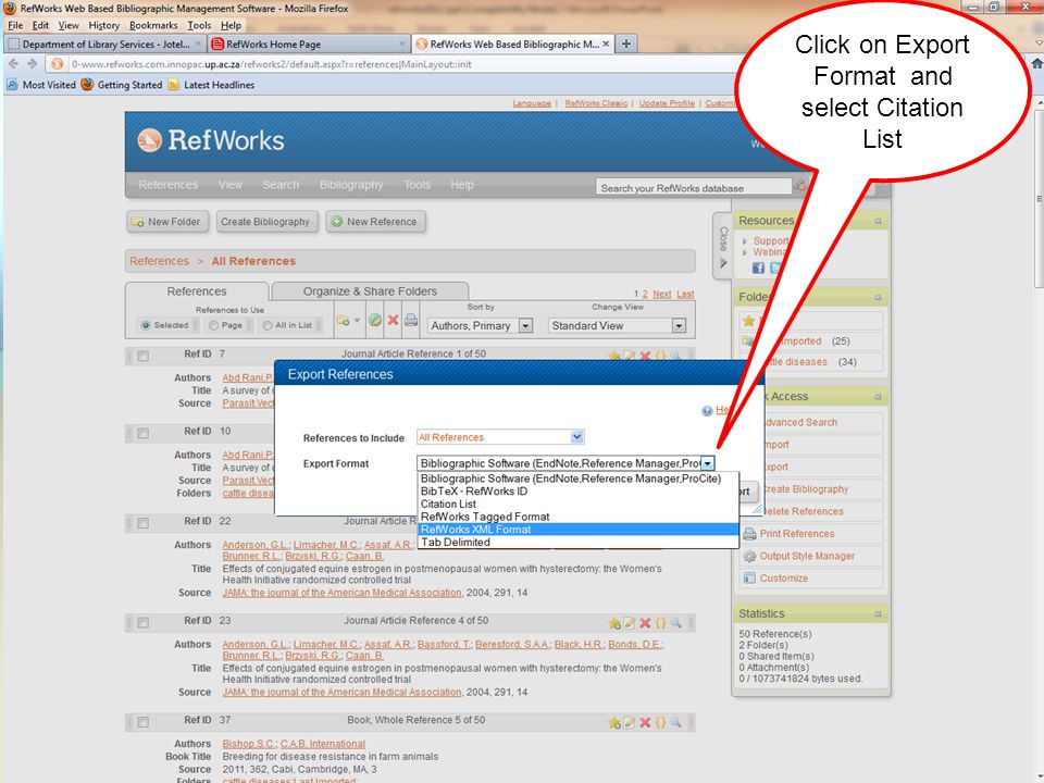 Click on Export Format and select Citation List