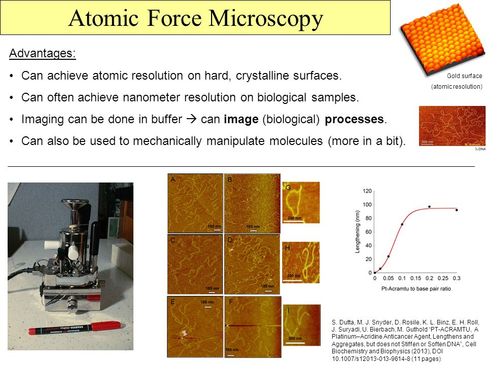 Atomic Force Microscopy Advantages: Can achieve atomic resolution on hard, crystalline surfaces.
