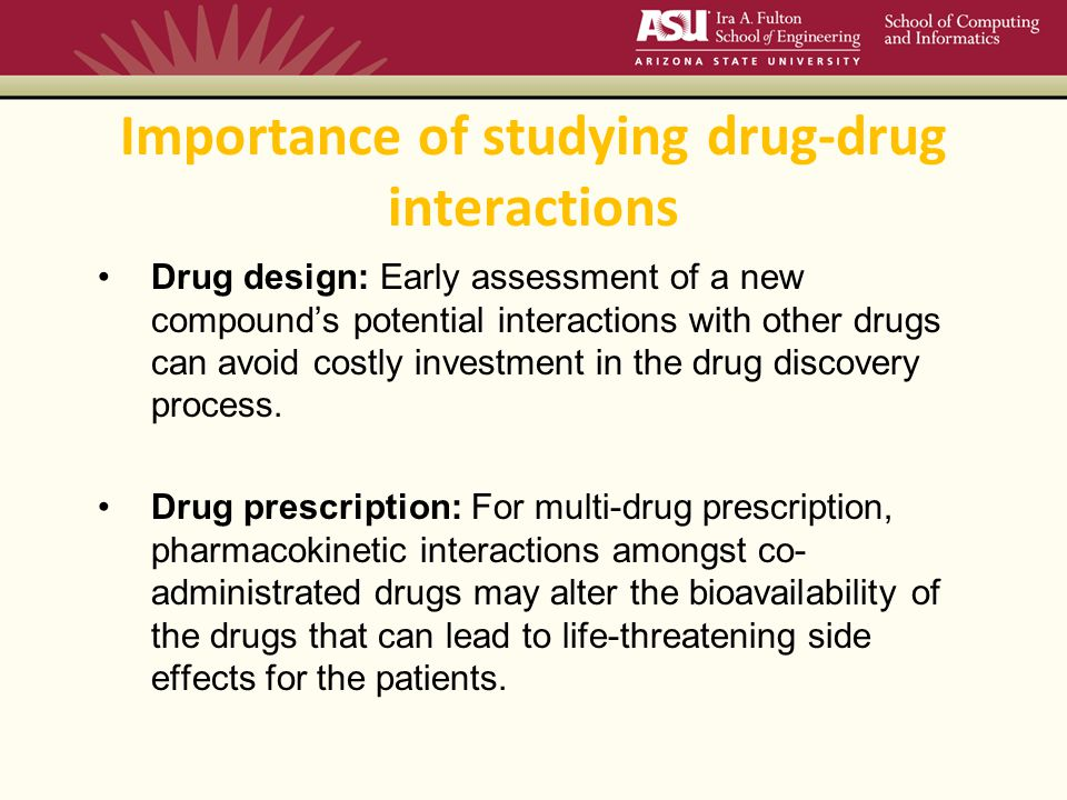 Importance of studying drug-drug interactions Drug design: Early assessment of a new compound's potential interactions with other drugs can avoid costly investment in the drug discovery process.