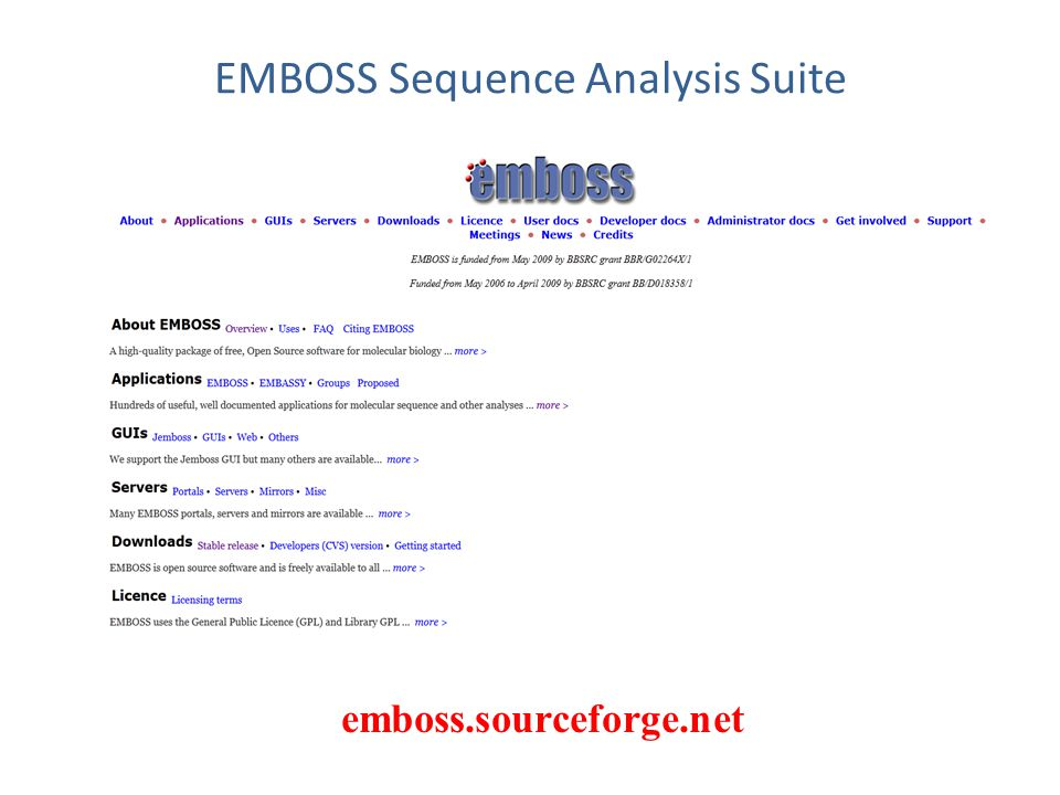 EMBOSS Sequence Analysis Suite emboss.sourceforge.net