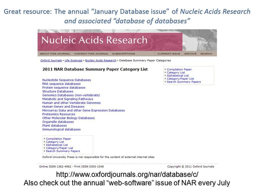 "4 Great resource: The annual ""January Database issue"" of Nucleic Acids Research and associated ""database of databases"" http://www.oxfordjournals.org/n"