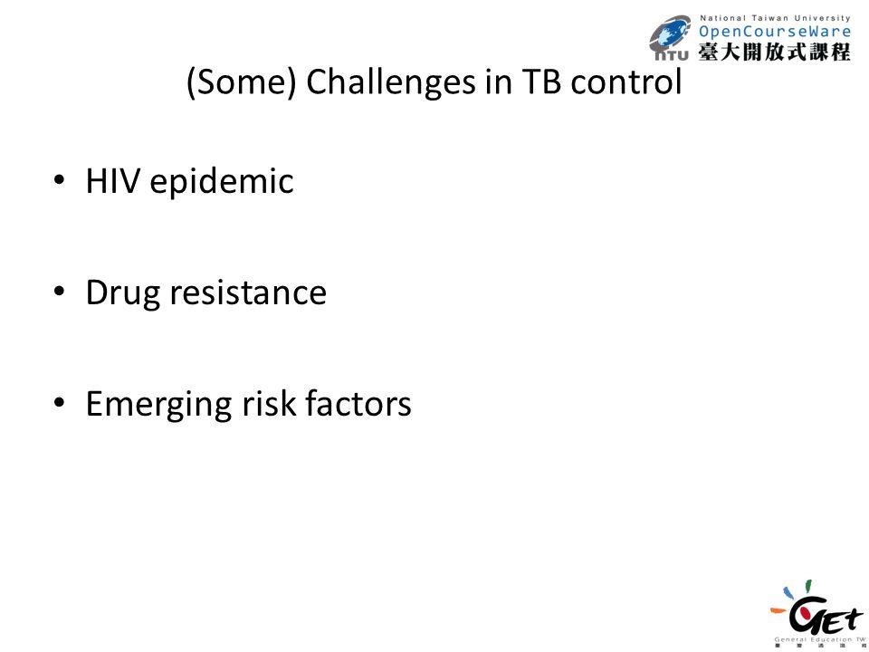 (Some) Challenges in TB control HIV epidemic Drug resistance Emerging risk factors