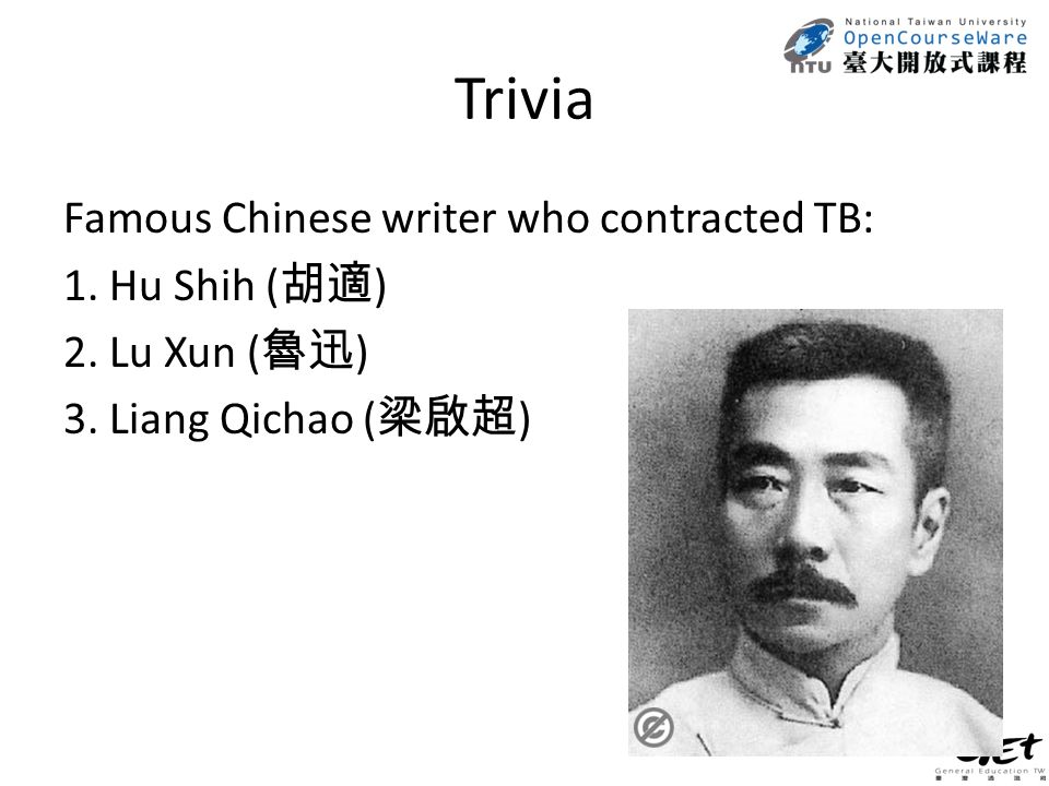 Trivia Famous Chinese writer who contracted TB: 1.