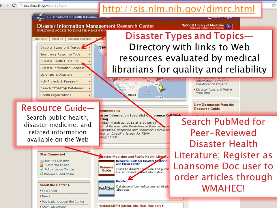 Search PubMed for Peer-Reviewed Disaster Health Literature; Register as Loansome Doc user to order articles through WMAHEC! Resource Guide— Search pub