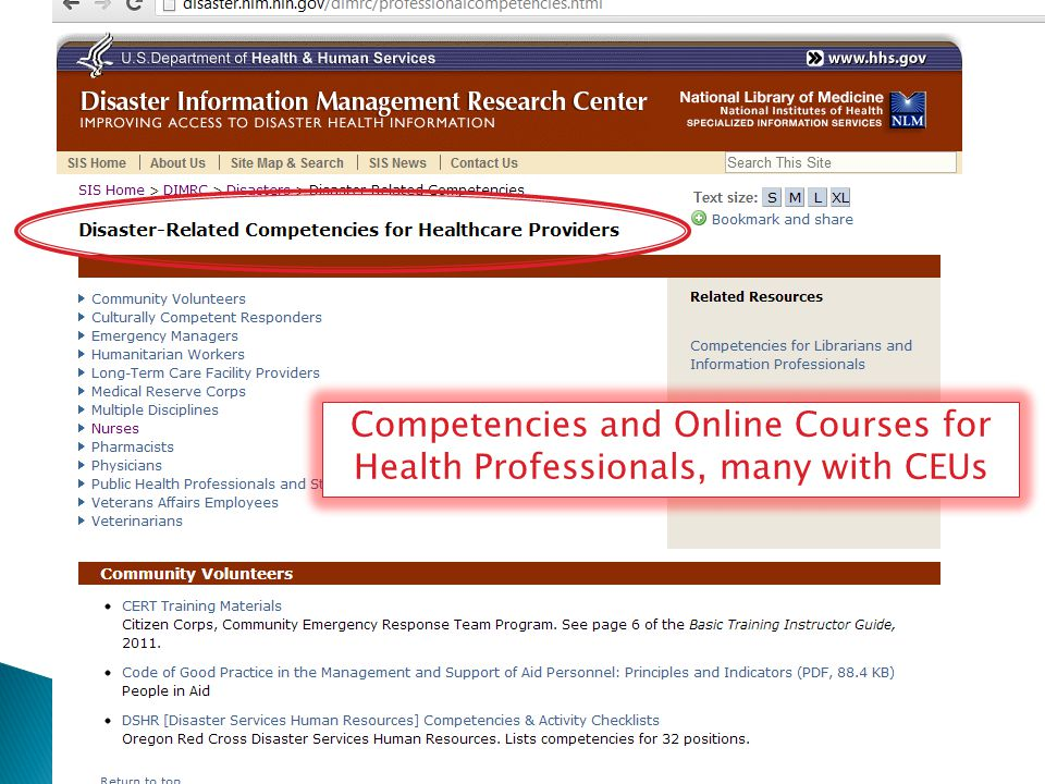 Competencies and Online Courses for Health Professionals, many with CEUs
