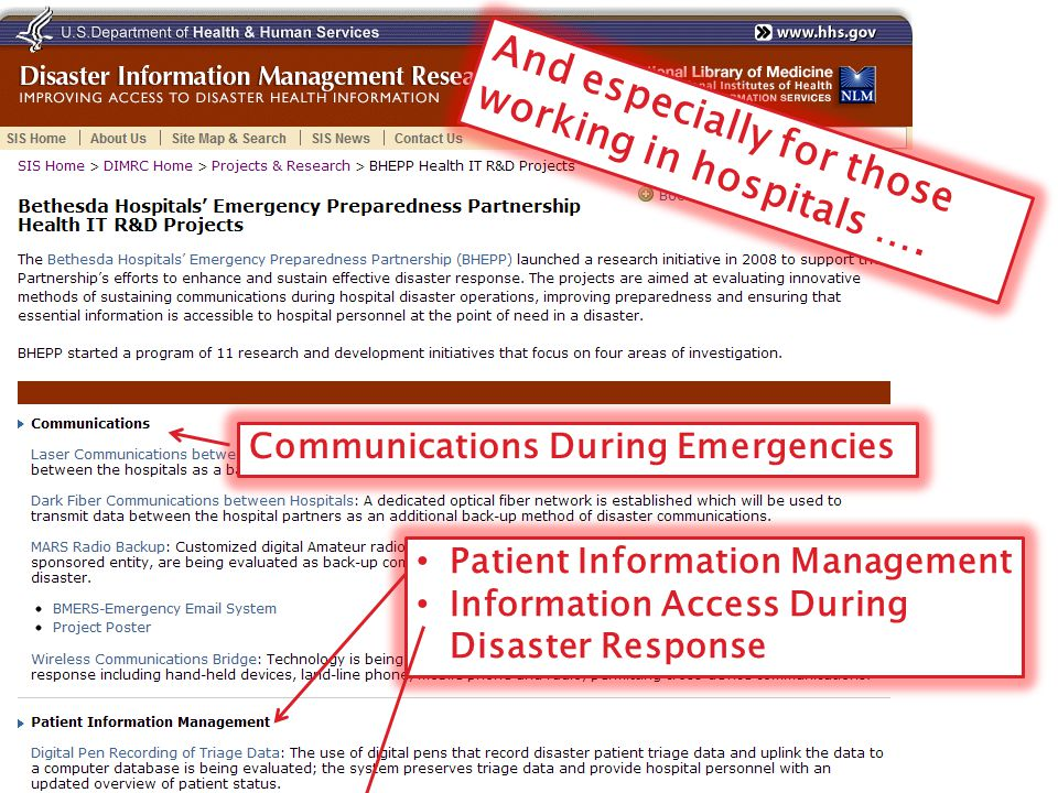 And especially for those working in hospitals …. Communications During Emergencies Patient Information Management Information Access During Disaster R