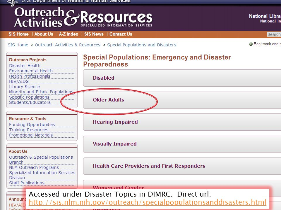 Accessed under Disaster Topics in DIMRC. Direct url: http://sis.nlm.nih.gov/outreach/specialpopulationsanddisasters.html http://sis.nlm.nih.gov/outrea