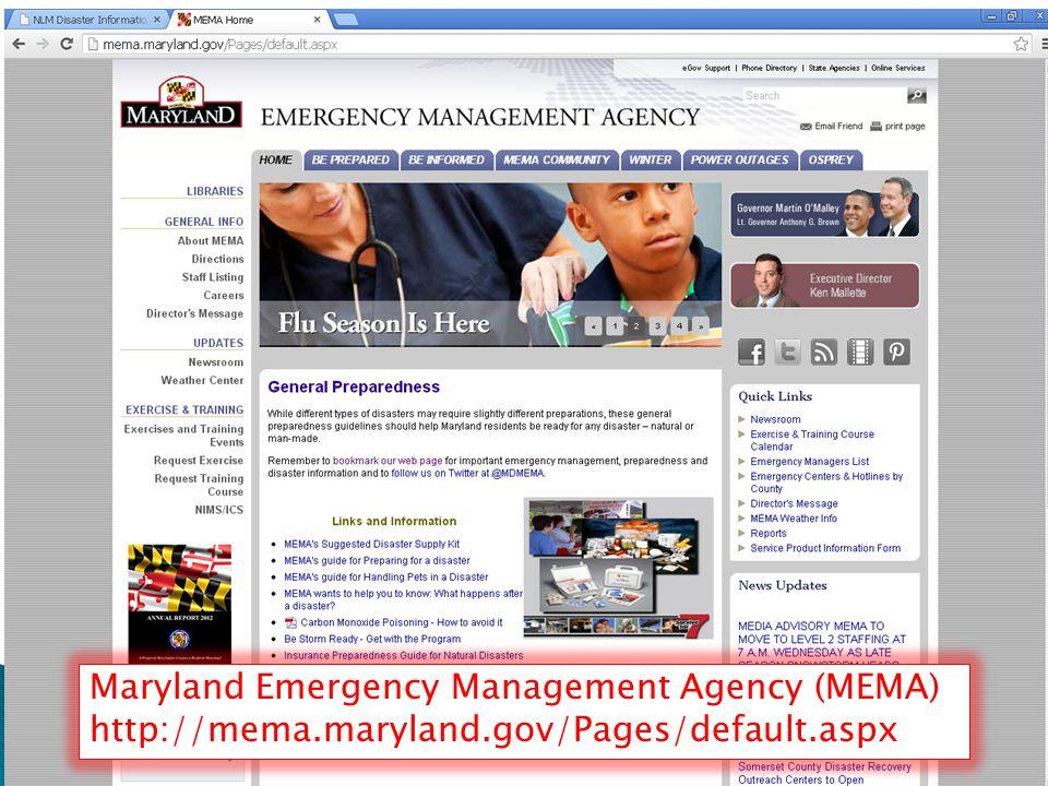  DO screen shot Maryland Emergency Management Agency (MEMA) http://mema.maryland.gov/Pages/default.aspx