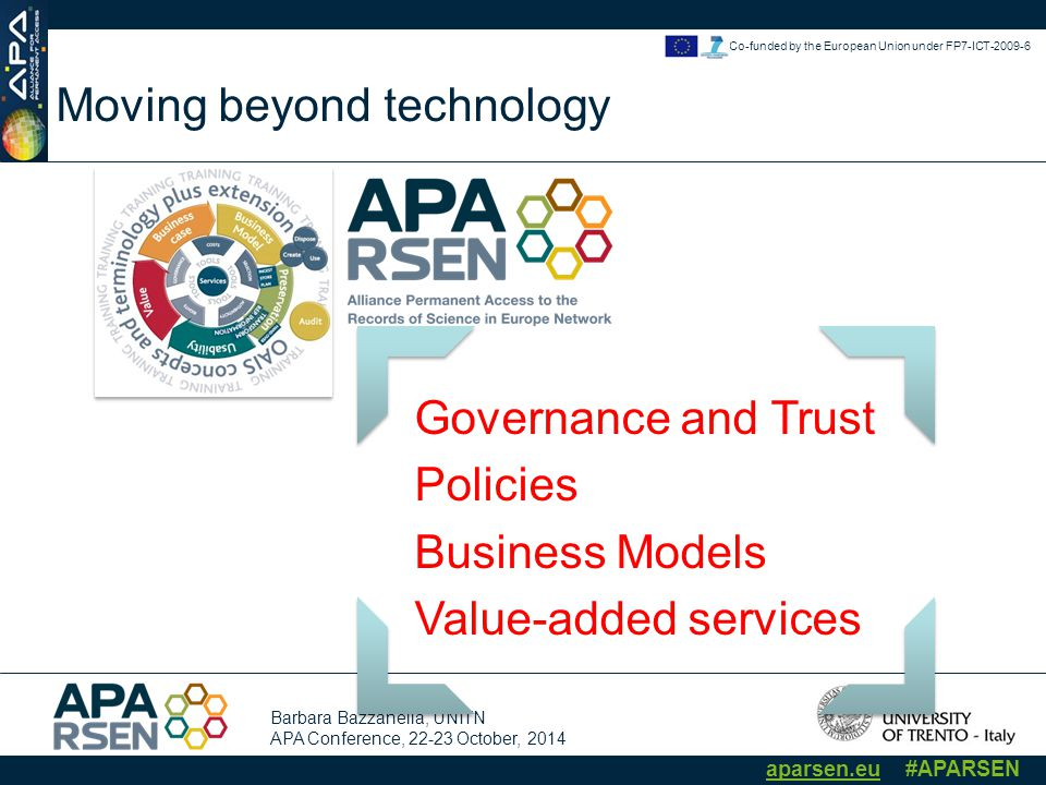 Barbara Bazzanella, UNITN APA Conference, 22-23 October, 2014 aparsen.eu #APARSEN Co-funded by the European Union under FP7-ICT-2009-6 Moving beyond technology Governance and Trust Policies Business Models Value-added services The APARSEN Center of Excellence
