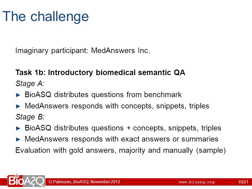 G.Paliouras, BioASQ, November 2012 www.bioasq.org The challenge Imaginary participant: MedAnswers Inc.