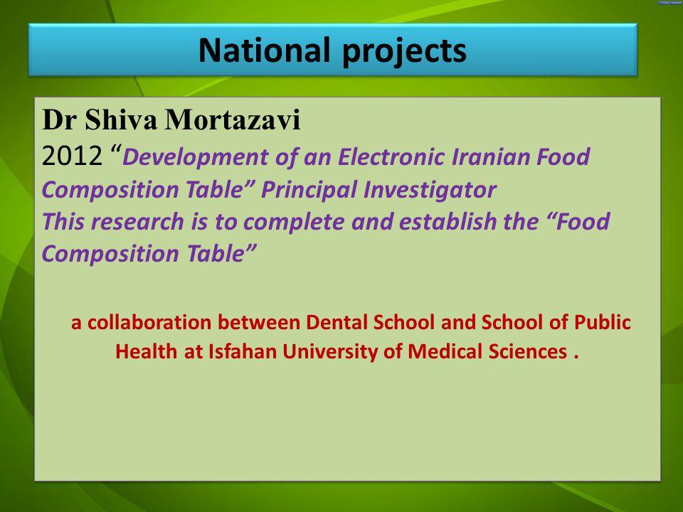"جد Dr Shiva Mortazavi 2012 "" Development of an Electronic Iranian Food Composition Table"" Principal Investigator This research is to complete and esta"