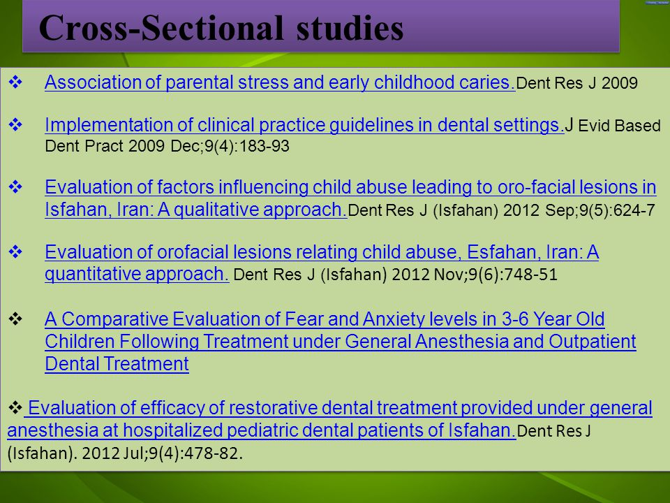 جد  Association of parental stress and early childhood caries.