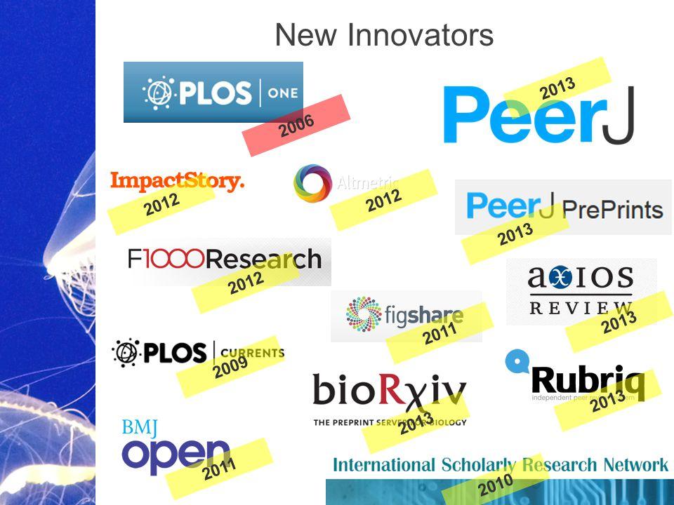 Academic Publishing is Evolving… 2013 2012 2006 2009 2011 2010 New Innovators 2013 2011 2012 2013 2012
