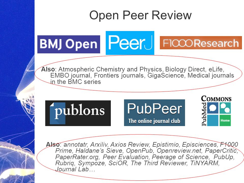 Academic Publishing is Evolving… Open Peer Review Also: annotatr, Arxiliv, Axios Review, Epistimio, Episciences, F1000 Prime, Haldane's Sieve, OpenPub, Openreview.net, PaperCritic, PaperRater.org, Peer Evaluation, Peerage of Science, PubUp, Rubriq, Sympoze, SciOR, The Third Reviewer, TiNYARM, Journal Lab… Also: Atmospheric Chemistry and Physics, Biology Direct, eLife, EMBO journal, Frontiers journals, GigaScience, Medical journals in the BMC series