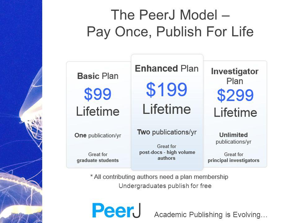 Academic Publishing is Evolving… The PeerJ Model – Pay Once, Publish For Life Undergraduates publish for free