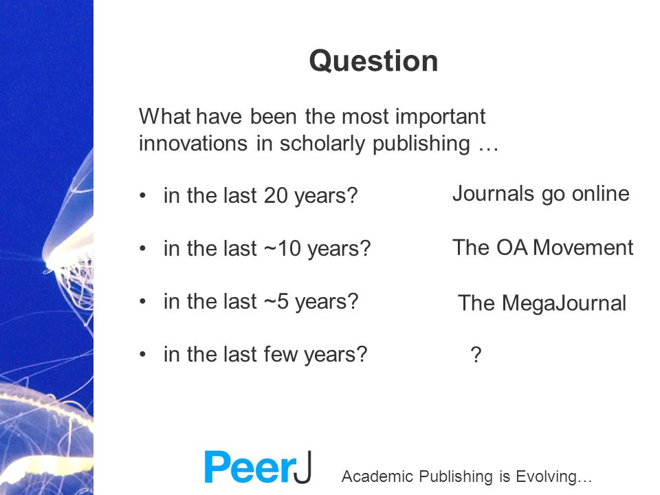 Academic Publishing is Evolving… Question What have been the most important innovations in scholarly publishing … in the last 20 years? in the last ~1